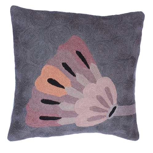 Grey Colored Floral Cushion Cover