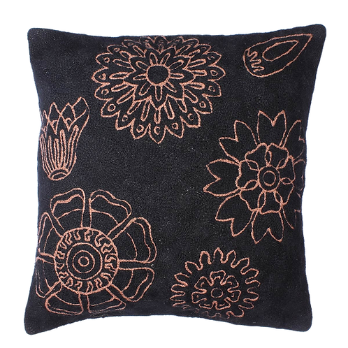 Black Colored Floral Cushion
