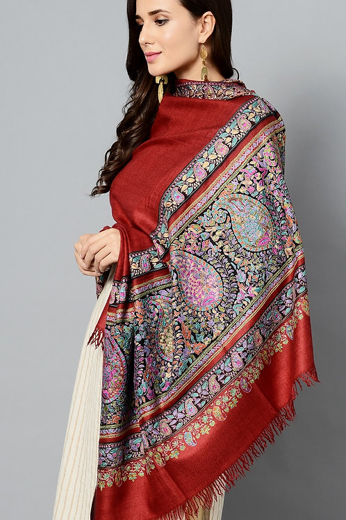 Maroon Multi-Colored Paisley Hand Embroidered Pashmina Shawl