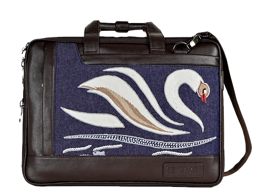 Hand Embroidered Swan Laptop Bag