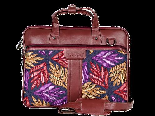 Hand Embroidered Leaf Laptop Bag