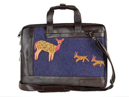 Hand Embroidered Deer Laptop Bag