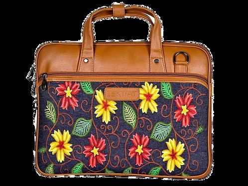 Hand Embroidered Vine Laptop Bag
