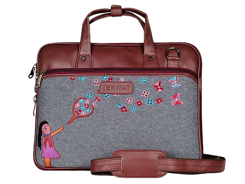 Hand Embroidered Girl Laptop Bag
