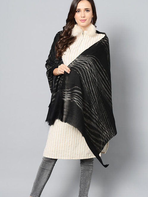 Black Color Striped Handwoven Pashmina Stole