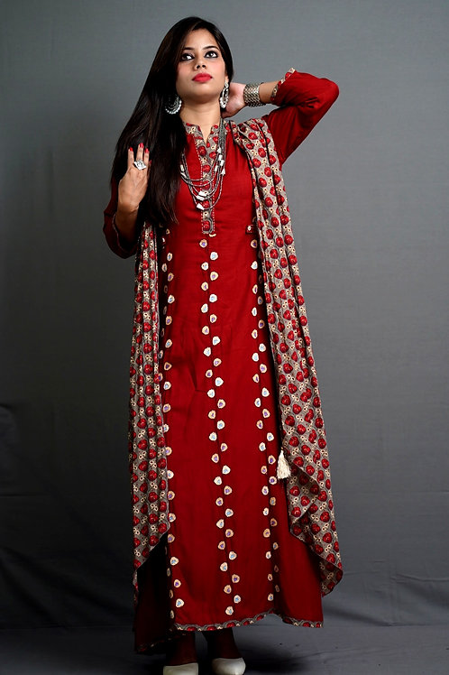 Rust Red, A-Line Kurta with Sozni Hand Embroidery