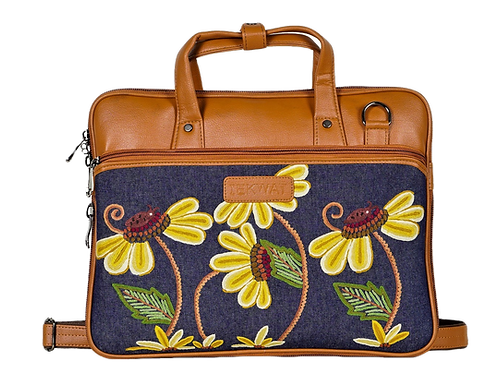Hand Embroidered Flower Laptop Bag
