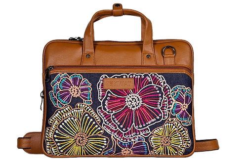 Hand Embroidered Abstract Laptop Bag