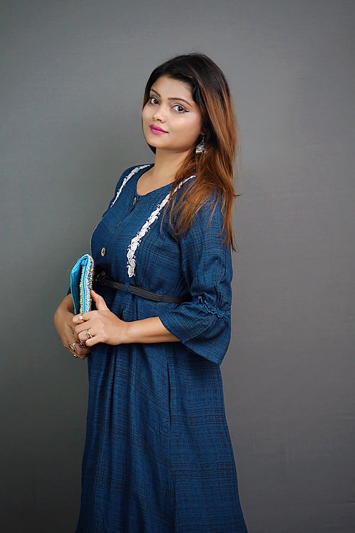 Navy Blue & Black A-Line Kurta with Tilla Hand Embroidery