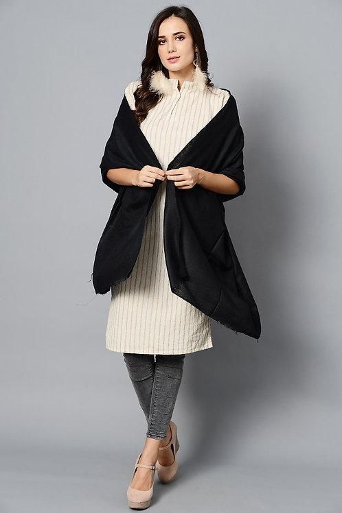 Black Colored Handwoven Pashmina Stole