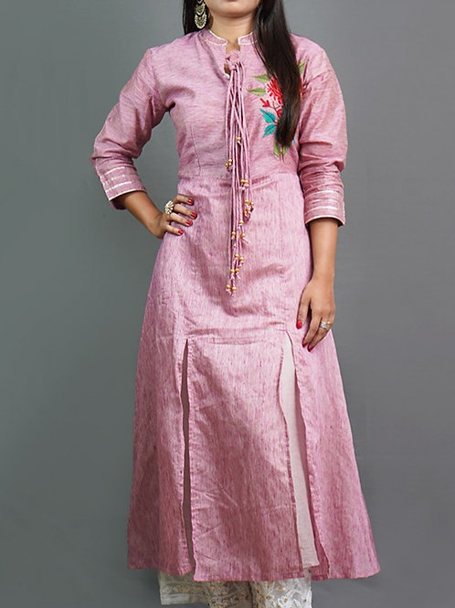 Pink A-Line Dress with Aari Hand Embroidery