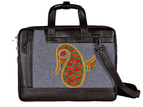 Hand Embroidered Almond Laptop Bag