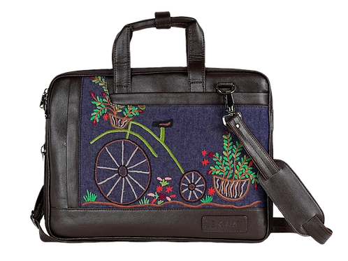 Hand Embroidered Bicycle Laptop Bag