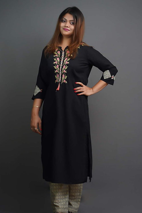 Black Kurta & Trousers with Sozni Hand Embroidery