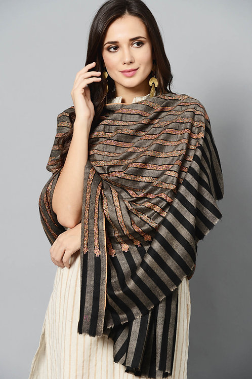 Black Multi-Color Hand-Embroidered Pashmina Shawl