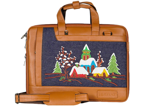 Hand Embroidered Snow Laptop Bag