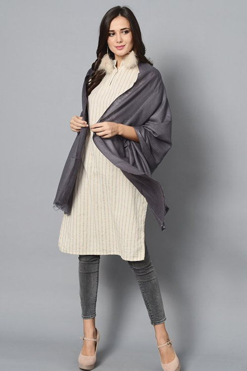 Grey Colored Handwoven Pashmina Stole