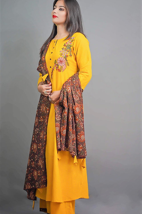 Mustard Yellow Brown Kurta & Plazzo with Sozni Hand Embroidery