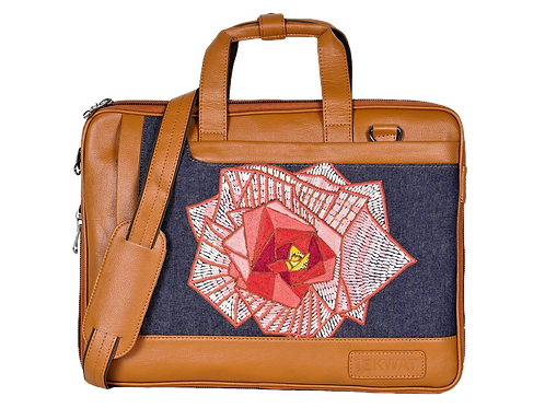 Hand Embroidered Rose Laptop Bag