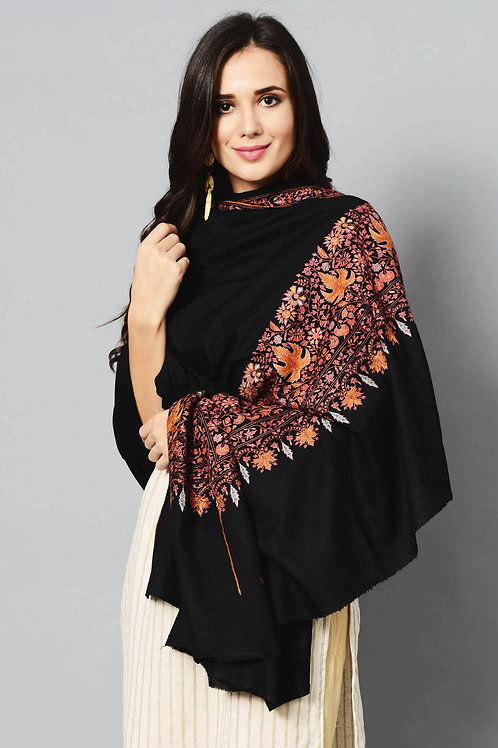 Black Golden-Chinar Ladies Hand Embroidered Cashmere Pashmina Shawl