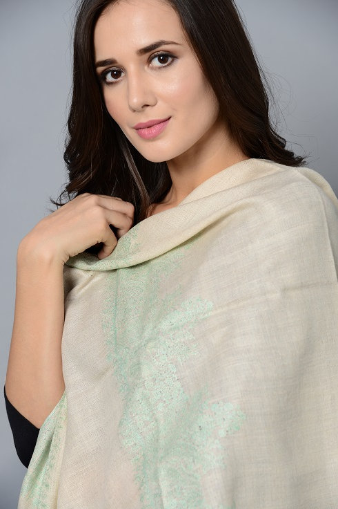 White - Aqua Blue Hand-Embroidered Pashmina Stole