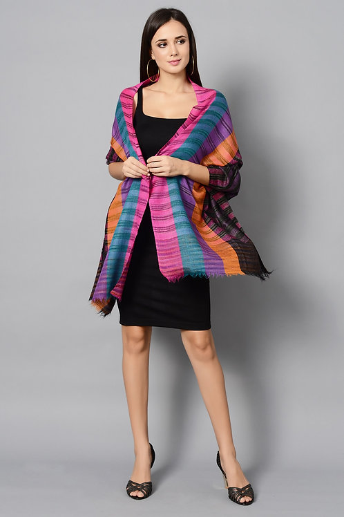 Multi Color Striped Handwoven Pashmina Stole