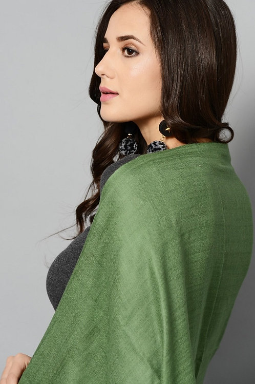 Green Colored Handwoven Pashmina Stole