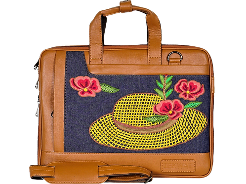 Hand Embroidered Hat Laptop Bag
