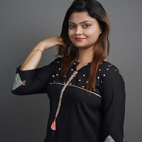Black Kurta & Trousers with Tilla Hand Embroidery