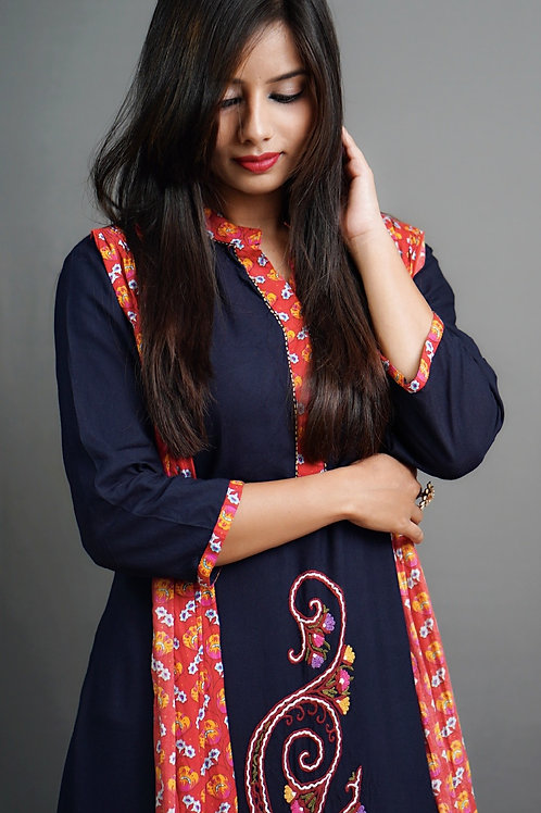 Navy Blue and Red Layered Solid A-Line Kurta with Aari Hand Embroidery