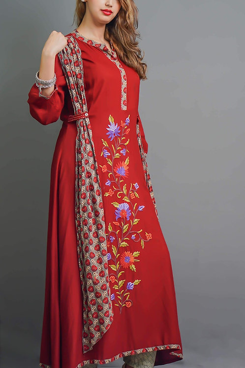 Rust Red, A-Line Kurta with Aari Hand Embroidery