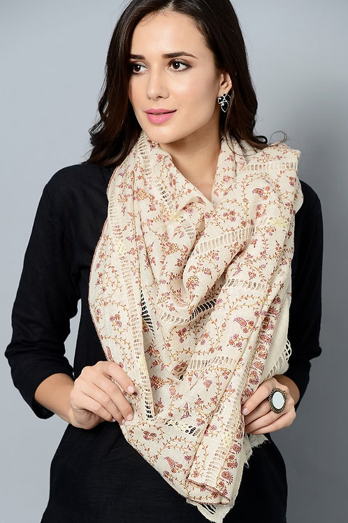 Multi-Color Hand-Embroidered Pashmina Stole