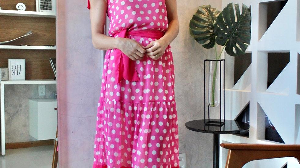 Vestido poa rosa