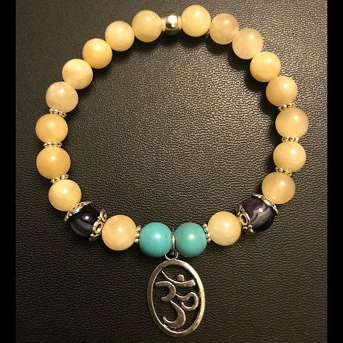 Yellow Jade, Turquoise, & Striped Purple Agate Om Bracelet