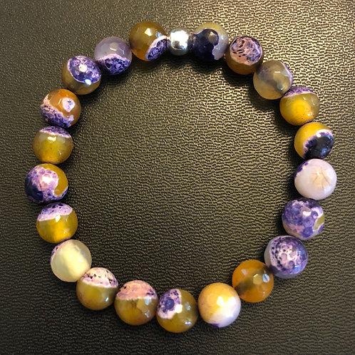 Faceted Lemon Purple Agate Healing Bracelet