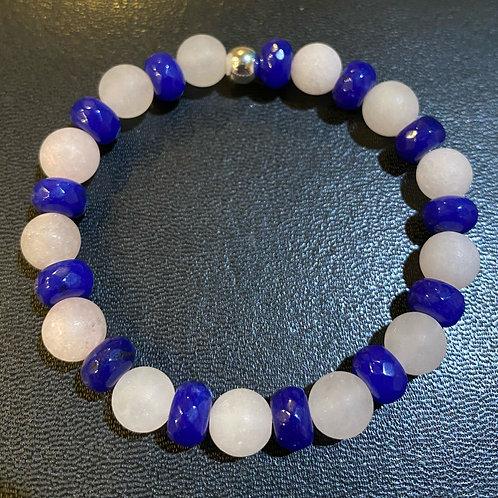 Blue Jade & Matte Rose Quartz Healing Bracelet