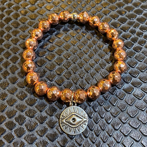 "Faceted Rose Gold Hematite ""Third Eye"" Healing Bracelet"