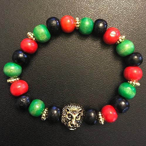 RBG Lion Wooden Bead Bracelet