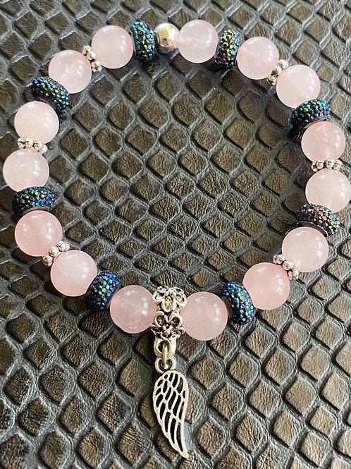 Rose Quartz Angel Wing Healing Bracelet