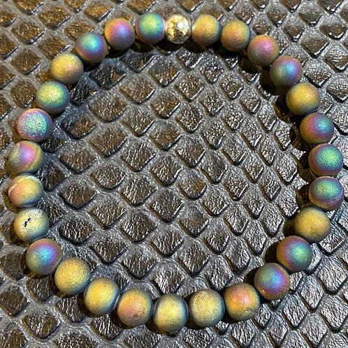 Matte Rainbow Druzy Agate Healing Bracelet