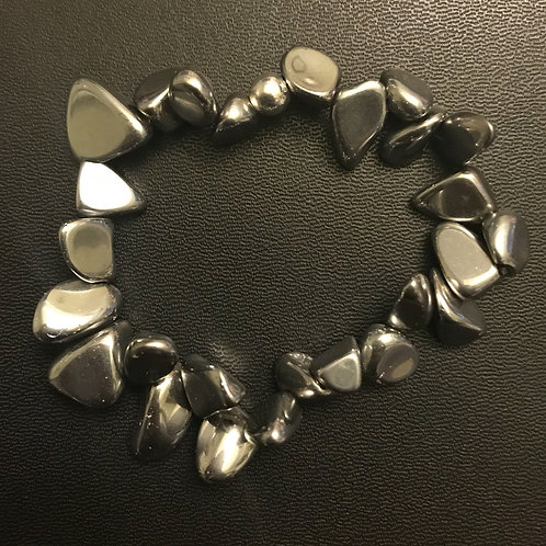 Hematite Design Chip Bracelet