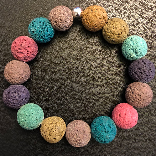 10mm Multicolored Lava Stone Healing Bracelet
