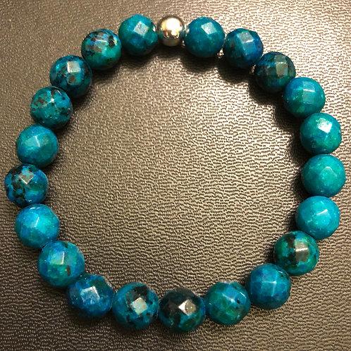 Faceted Blue Green Azurite Healing Bracelet