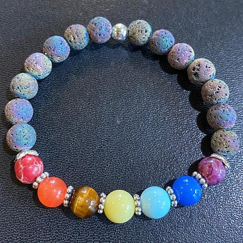 Iridescent Lava Stone Chakra Healing Bracelet