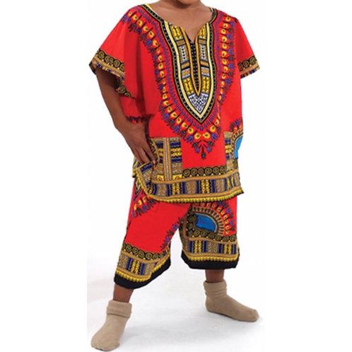 Red Child Dashiki and Shorts Set
