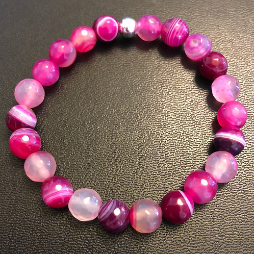Pink Faceted Agate Healing Bracelet