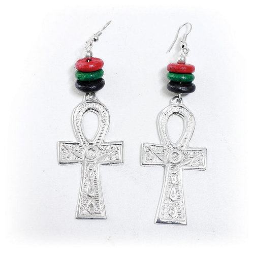 RBG Silver Ankh Earrings