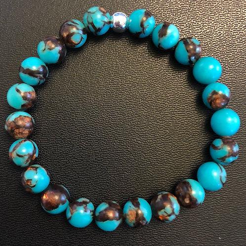 Turquoise and Amber Amazonite Healing Bracelet