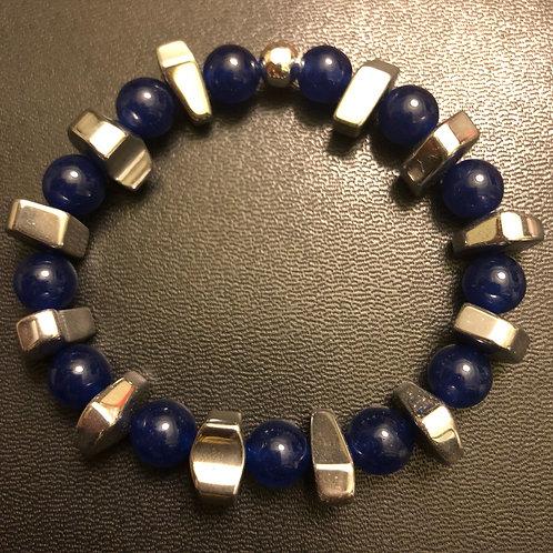 Silver Hematite and Blue Jade Healing Bracelet