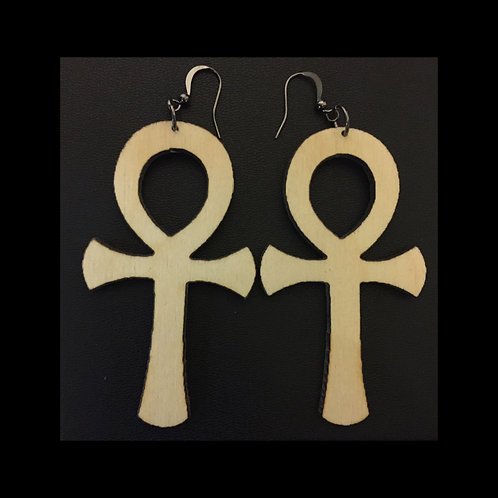 Unfinished Wood Queen Life Earrings